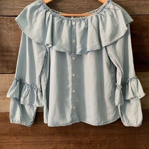 Sanctuary Chambray Ruffled Off The Shoulder Top